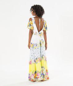 vestido longo floral bebel