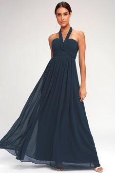 8744c13acbbe Classical Charm Navy Blue Converible Maxi Dress 6 Mom Dress, Convertible,  Bodice, Navy