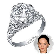 Emily Blunt  The Inspiration The Office star John Krasinski had been dating The Young Victoria's Emily Blunt since 2008 when he proposed with a custom-designed Edwardian diamond and platinum ring. Though the low-key couple manage to keep their relationship under wraps, this 3-carat Neil Lane sparkler is impossible to miss.    Look for Vintage details  Star Finder Photos