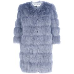 SIMONETTA RAVIZZA MID-LENGTH FUR COAT (27.568.355 IDR) ❤ liked on Polyvore featuring outerwear, coats, fur, jackets, blue coat, fur coat, mid length coat, simonetta ravizza and blue fur coat