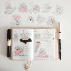 Esses adesivos foram feitos com as ilustrações do #inktober que fiz no ano passado. Só tem 16 porque eu não fiz todos os dias como deveria, heheheh 😝 (link da lojinha no perfil) #adesivos #hobonichi #planner