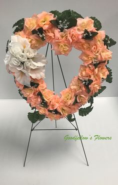 Silk Faux Flower Pink Heart Wreath Filled With Pink and White Roses & White Calla Lilies Heart Wreath, Calla Lilies, Faux Flowers, White Roses, Floral Arrangements, Lily, Valentines, Wreaths, Creative