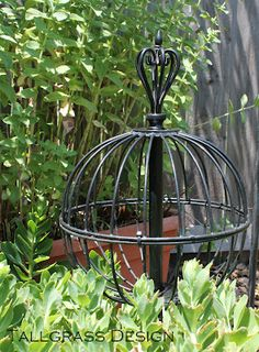 Tallgrass Design: Repurposed Garden Orb   2 Hanging Baskets Zip Tied  Together And A Curtain