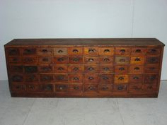antique pine chest from an 1800's chicago apothecary shop.