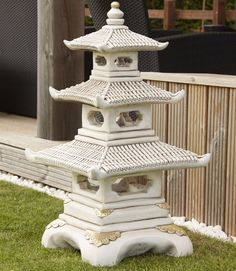 There is no architectural style that is more symbolic of the Orient than multi-tiered pagodas that originally housed Buddhist relics and tracts. This cast stone example from Borderstone will certainly bring the East into a garden or onto your patio. Manufactured with great skill, the pagoda is a distinctive ornament captured with all its beautiful detail.
