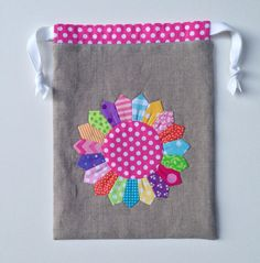 Appliqued linen drawstring bag  fabric and by MyCreativeFrenzy