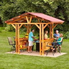 Grillzebo: A sheltered space similar to a gazebo but designed for grilling. A grill gazebo is the perfect place to cook the perfect steak, rain or shine, and it makes a great outdoor bar, too. Grill Gazebo, Diy Gazebo, Gazebo Plans, Outdoor Pergola, Pergola Kits, Pergola Ideas, Pergola Roof, Cheap Pergola, Pergola Screens