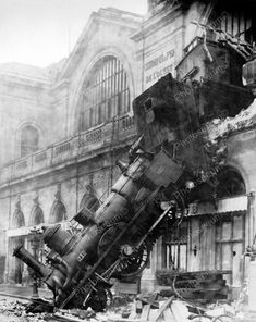 zrain wreck at gare montparnasse, paris, france, 1895