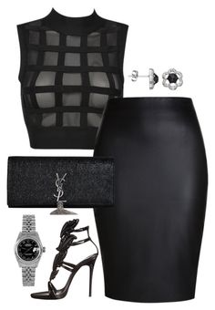 """All Black BET awards 2015"" by fashionkill21 ❤ liked on Polyvore featuring Giuseppe Zanotti, Yves Saint Laurent and Rolex"
