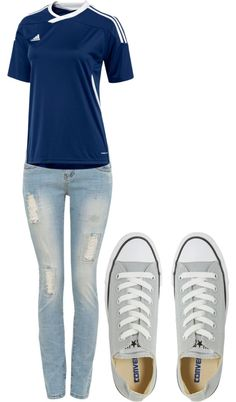 """Soccer OutFit"" by tleboeuf ❤ liked on Polyvore I would wear this everyday if I had a soccer jersey like that!"