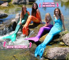 The difference between floppy tails and tails with a mermaid monofin