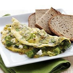 Broccoli & Feta Omelet with Toast - 31 Quick-and-Easy Fat-Burning Recipes - Health.com