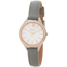 Fossil Women's Mini Round Leather Watch ($57) ❤ liked on Polyvore featuring jewelry, watches, rose and gray, fossil jewelry, water resistant watches, fossil jewellery, rose gold tone jewelry and round dial watches