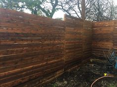 Horizontal side by side cedar fence with gaps. Installed by Titan Fence & Supply Company. Building A Fence, Horizontal Fence, Cedar Fence, Wood, Outdoor Decor, Design, Woodwind Instrument, Trees, Home Decor Trees