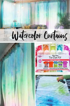 Watercolor curtains are easier than you think ! Check out this video turotial with tips on createing these curtains, finding fabric, and more. Your living room will be the most unique ever!