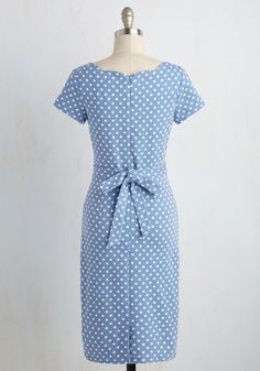 If you're happy and you know it, sport this polka-dotted dress! Okay, so maybe those aren't the exact lyrics, but once you take the scalloped bateau neckline, flattering waistline sash, and cornflower hue of this midi-length sheath out for a spin, you'll be willing to make the update!