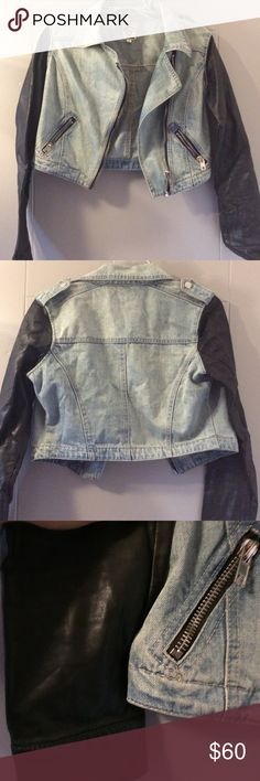Jean moto jacket, faux leather sleeves, LF Stores CARMAR (LF Stores brand) light-wash denim jacket with vegan leather sleeves. Silver hardware. Moto/biker style. Small, almost cropped fit. Size XS. CARMAR Jackets & Coats Jean Jackets
