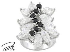 Marilyn Monroe (Tm) Jewelry Collection, Black & White Diamond Simulant Rhodium Plated Bronze Ring