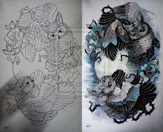 Tattoo design - Owls by *Xenija88 on deviantART. It may not be on skin, but it's kick ass.