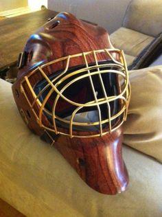 Hockey Goalie Mask in Wood print by Liquid Carbon Shop Hockey Goalie Gear, Hockey Helmet, Blackhawks Hockey, Hockey Games, Hockey Mom, Ice Hockey, Hockey Stuff, Hydro Printing, Hockey Decor