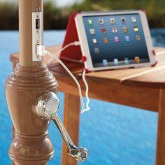 Solar Powered Patio Beach Umbrella with USB Ports - my hubby needs this