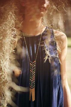 Chevron Fringe Lariat Necklace