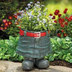 Denim Skirt Planter