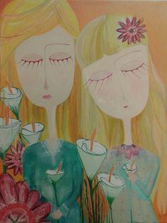 Dos de corazon  Acrilico sobre tela. 2015 1m x80 cm . Mazza Alejandra
