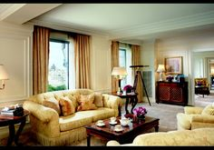 The Ritz-Carlton New York, Central Park: The Royal Suite  The living room in The Royal Suite. Price: $15,000 per night.