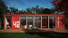 Architecture Ideas, Exciting Container Home Los Angeles With Red Exterior Color And Wooden Deck Also Outdoor Rounded Table: How To Create Container Homes Los Angeles Architecture