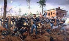 """""""DeGress' Battery"""" at the Battle of Atlanta on July the Illinois, armed with Henry repeaters, retakes the battery of the Illinois Light Artillery that had be overrun earlier by Manigaults' Brigade near the Troup-Hurst House. Military Art, Military History, Military Diorama, Military Uniforms, American Civil War, American History, American Soldiers, Atlanta, Civil War Art"""