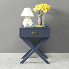 Combining campaign and modern style, the charismatic Baby Relax Miles Nightstand  is crafted with a sturdy wood construction and includes one spacious drawer. From functionality also sprang great design! Design a playfully sophisticated nursery room with the Miles Collection in graphite blue.