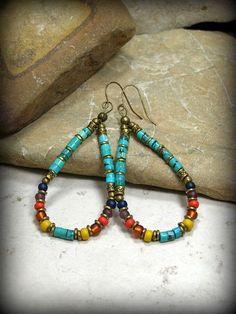 Turquoise Earrings, Tribal Jewelry, Hoop Earrings, Bohemian Jewelry by StoneWearDesigns #beadedjewelry