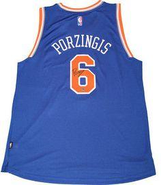 f91f8de1c4f Kristaps Porzingis Signed Blue New York Knicks Swingman Jersey  Basketball