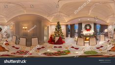 Christmas interior with a fireplace and a festive table. 3d illustration of an interior design in a classic style. Seamless 360 panorama for virtual reality and virtual 3D tours.
