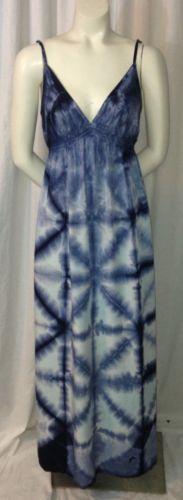 Lucky Brand Blue White Tie Dye Adjustable Spaghetti Strap Maxi Dress XS   eBay