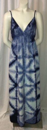 Lucky Brand Blue White Tie Dye Adjustable Spaghetti Strap Maxi Dress XS | eBay