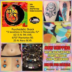 In Pensacola,  FL?  Visit Psychedelic Shack today for all your smoke accessories, tattoos novelties, body piercings & Damn Air Freshener.  3 convenient locations. Follow them @psychedelicshack for promos & giveaways.  #smoke #pipedreams #pipes #vaporizers #piercing