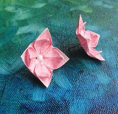 wedding earrings origami flower  $10
