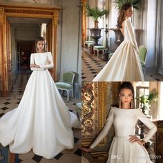 3f9b4530330 2018 Plus Size Wedding Dresses Bridal Gowns A Line Satin Open Back Sweep  Train Long Sleeve Wedding Gowns Bateau Neck Winter Bridal Dress