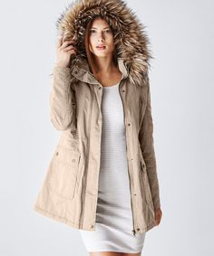 Look at this Glamsia Barley Faux Fur-Hood Inner Drawstring Jacket on #zulily today!