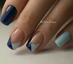 Cute nails art trend. Beautiful, simple, elegant nail art design Black and blue