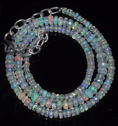 """34 Crts 2 to 5 mm 15"""" Faceted Beads necklace Ethiopian Welo Fire Opal RR163"""