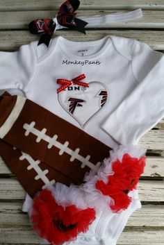 Atlanta Falcons Baby - Girl's Football Bodysuit - Matching Leg Warmers - Baby Shower Gift - Newborn Gift by MonkeyPantsPartyHats on Etsy