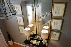 entrances/foyers - warm gray walls gold leaf frames mirror glossy black console table white coral lamps  Elegant foyer with warm gray walls paint