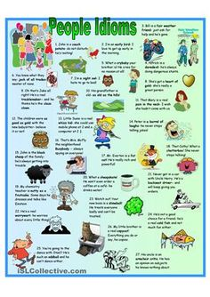 There are 5 pages: the idioms poster, a page with definition cards of the idioms (could be used for conversations), a colorful ws practicing the idioms, a b&w version of the ws and a key - ESL worksheets