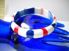 Vintage Bracelet Red White Blue Lucite Thermoset Plastic