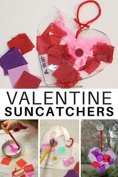 Add some color to your home or classroom window with these heart suncatchers! A fun toddler Valentine's art activity that also works on fine motor skills. #valentines #toddlers #hearts #valentineart #artsandcrafts #finemotor #AGE2 #classroom #homeschool