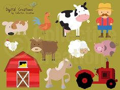 Farm Digital Clip Art Clipart Set  Personal by CollectiveCreation, $4.00