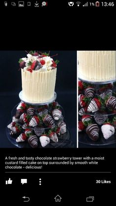 Cake with choc dipped berries for 2 tiers